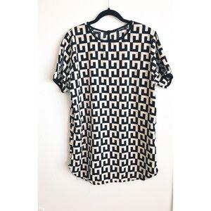 Black & White Print Shift Dress/Shirt
